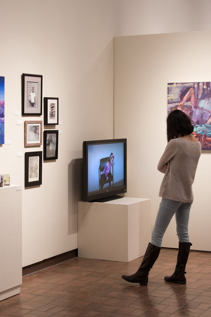 Annual Student Exhibition, 2018: Opening Reception; artwork by Chyna Farrior, Hazel Coppola, Brooklyn Sena, Madison Lopez, Rachel Urban, Emily McMurray, and Annie Platt