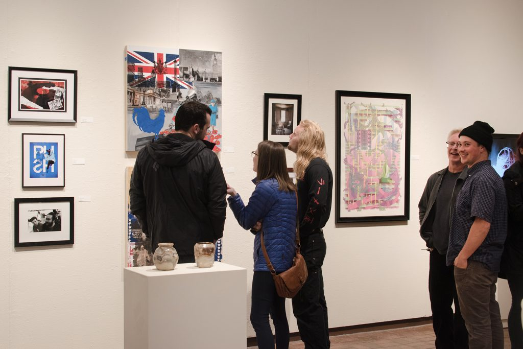 Annual Student Exhibition, 2018: Opening Reception; artwork by Nikita Nenashev (foreground), Chyna Farrior, Hari Jung, Natalie Hopes, Frances Lewicki, Alissa Allred, and James Hadley