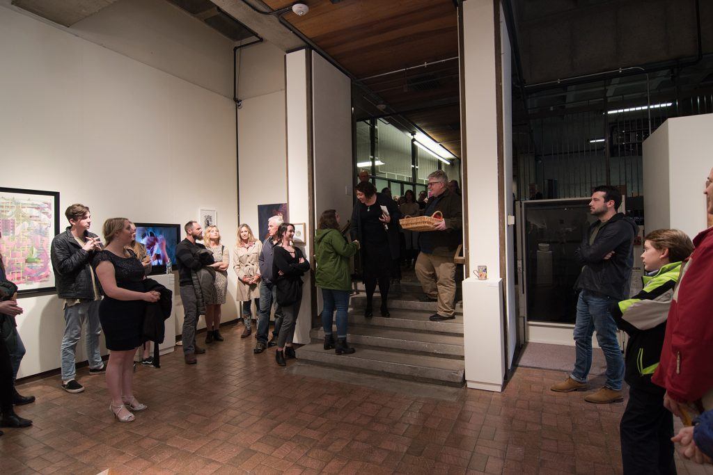 Annual Student Exhibition, 2018: Opening Reception; CFA Dean of Students Liz Leckie announces the dean's purchase award to BFA student Haylee Canonico