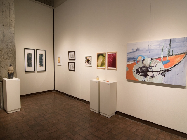 Annual Student Exhibition, 2018: installation view with artwork by Julia Hummer, Mikey Baratta, Dilan Li, Leah Caldwell, Sayde Price
