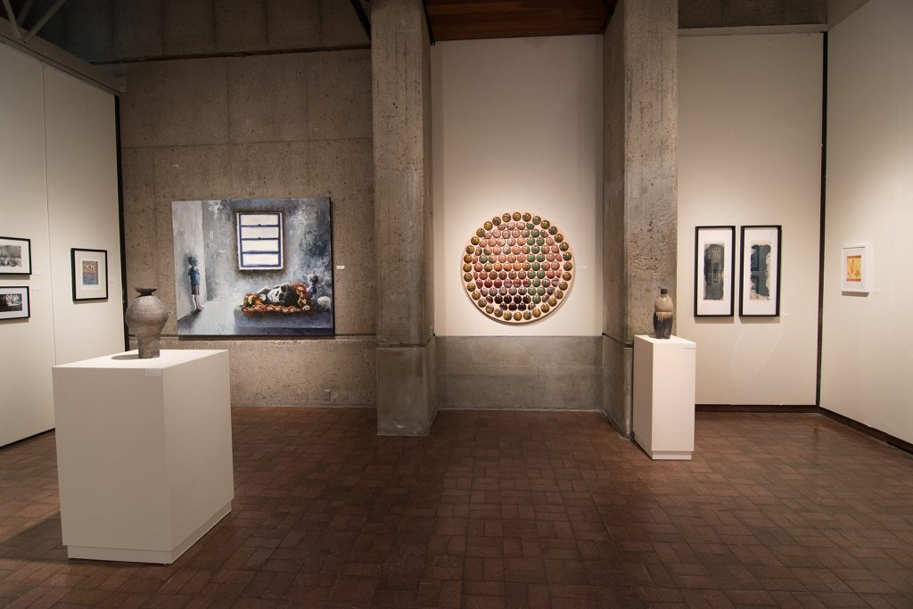 Annual Student Exhibition, 2018: installation view with artwork by Kristen Bennett, Hari Jung, James Hadley, Nikita Nenashev, Lucy Le Bohec, Macy Kennett, Julia Hummer, and Mikey Baratta