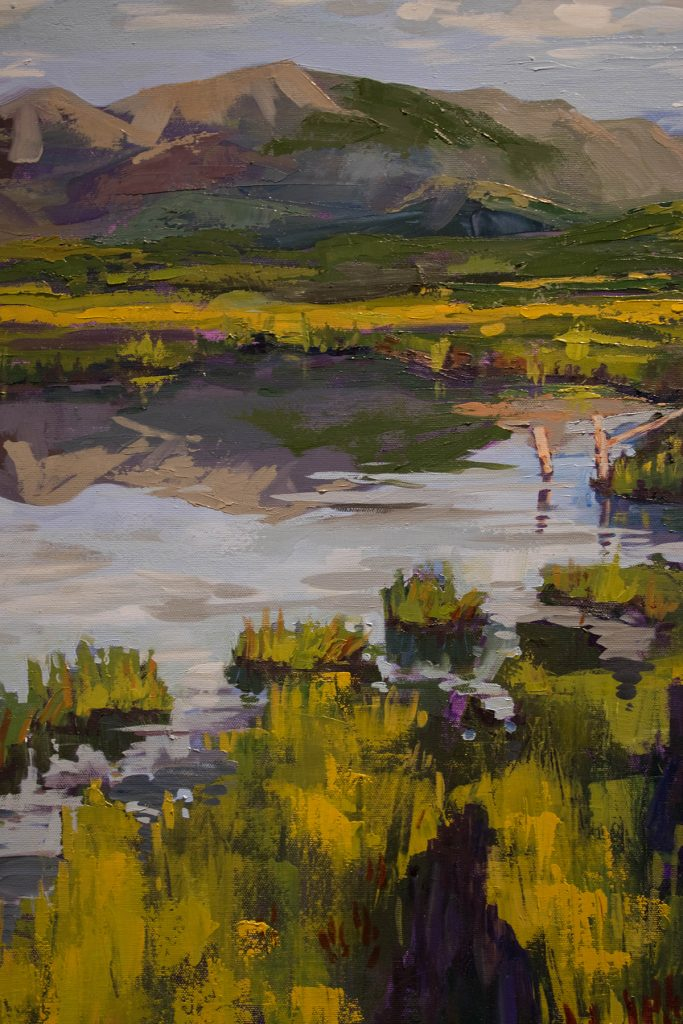 "Open Sky: Taft-Nicholson Residency Exhibition, Gittins Gallery, September 2017; artwork: ""Sunrise Hike to Sparrows Pond"" (detail), Alexis Rogers, oil on canvas"