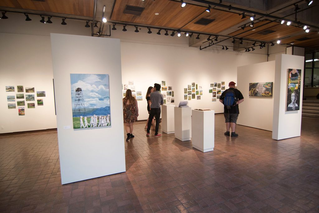 Open Sky: Taft-Nicholson Residency Exhibition, Gittins Gallery, September 2017; artwork: Morganne Cope (left foreground), Briana McLaren (right)