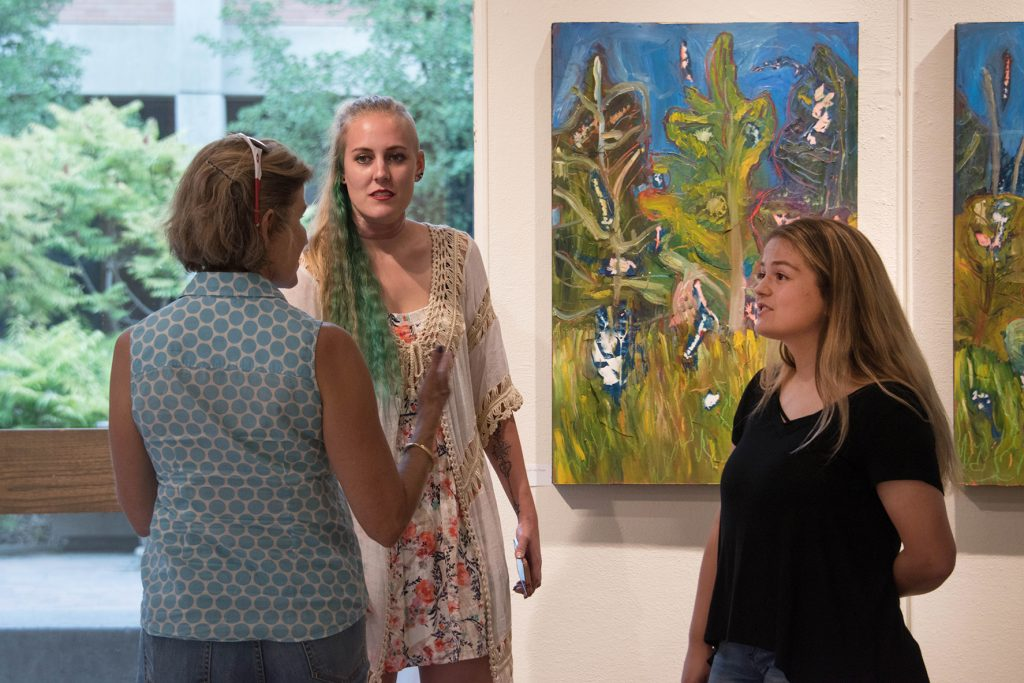 Open Sky: Taft-Nicholson Residency Exhibition, Gittins Gallery, September 2017; artwork: Amy Ungricht (background)