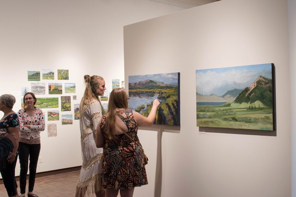 Open Sky: Taft-Nicholson Residency Exhibition, Gittins Gallery, September 2017; artwork: Alexis Rogers (left foreground), Charels Pfaff (right foreground)