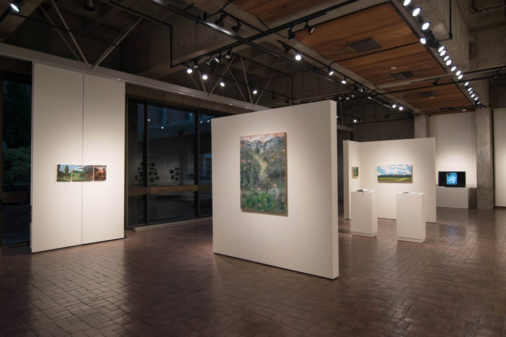 Open Sky: Taft-Nicholson Residency Exhibition, Gittins Gallery, September 2017; artwork: Eva Holbrook, Mitchell Lee, Sarah Peterson (left to right)