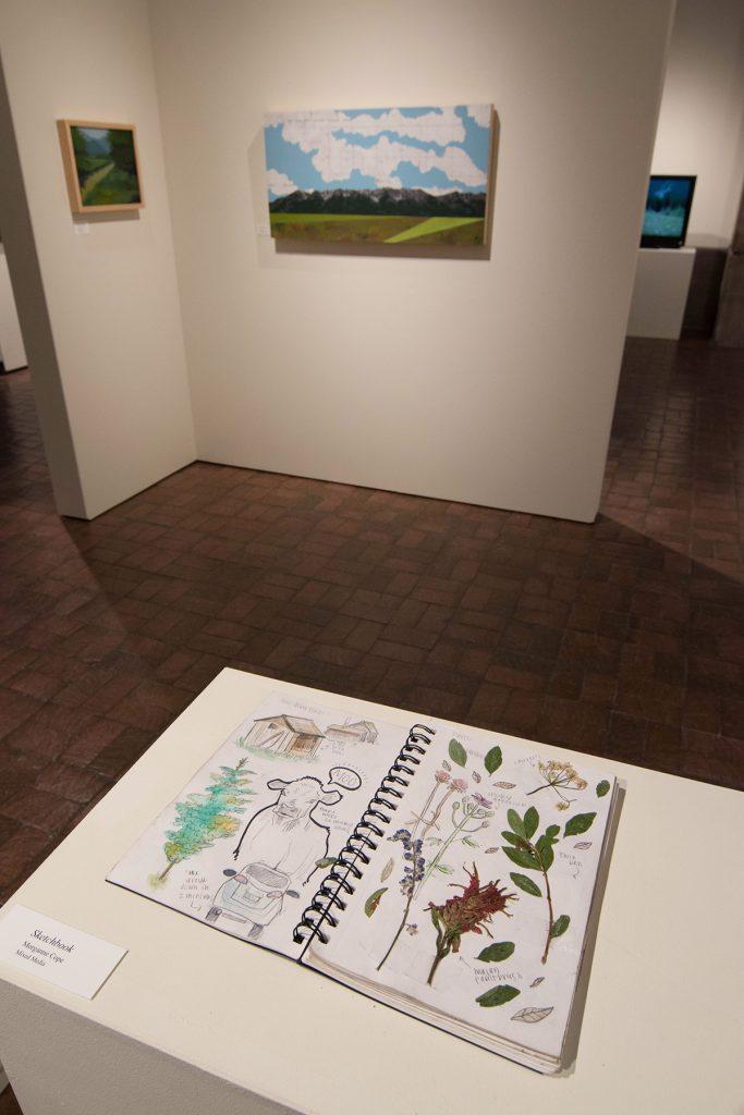 Open Sky: Taft-Nicholson Residency Exhibition, Gittins Gallery, September 2017; artwork: sketchbook: Morganne Cope, background paintings: Victoria Attwood (left), Sarah Peterson (right)