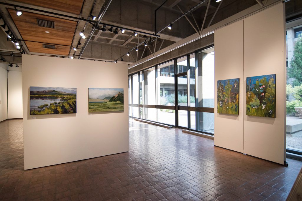 Open Sky: Taft-Nicholson Residency Exhibition, Gittins Gallery, September 2017; artwork: Alexis Rogers, Charles Pfaff, Amy Ungricht (left to right)