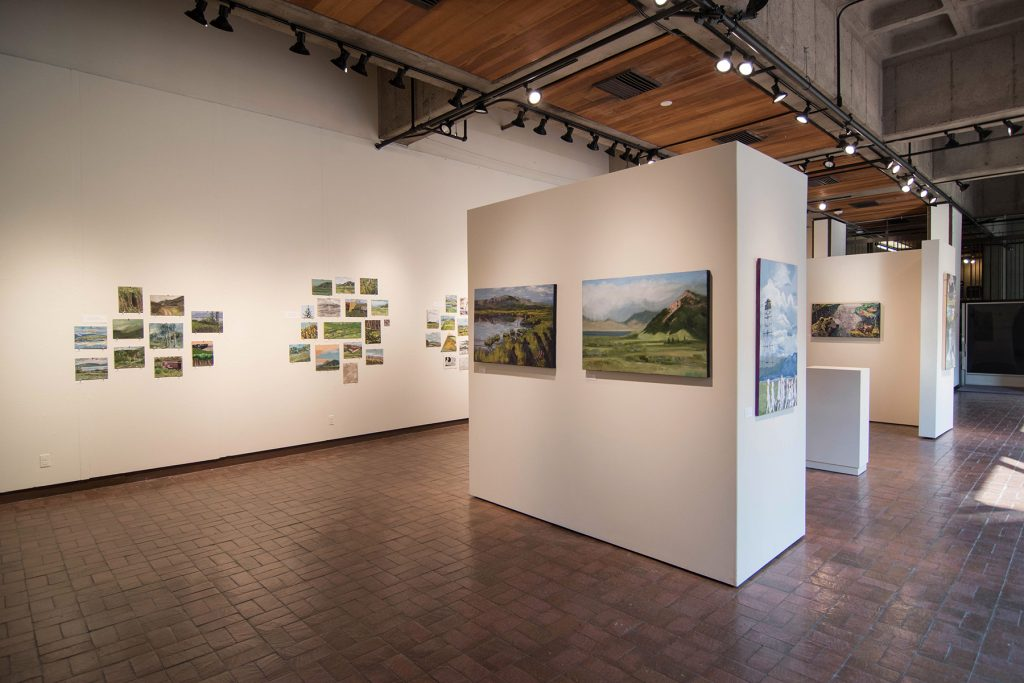 Open Sky: Taft-Nicholson Residency Exhibition, Gittins Gallery, September 2017; artwork: Alexis Rogers, Charles Pfaff (foreground)