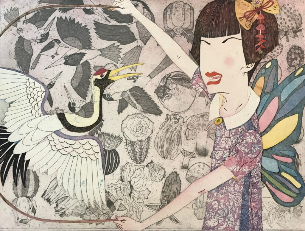 Yuji Hirasuka.Retro Mode Dancing with Crane 18 x 24 in. Intaglio and Chine Colle 2018