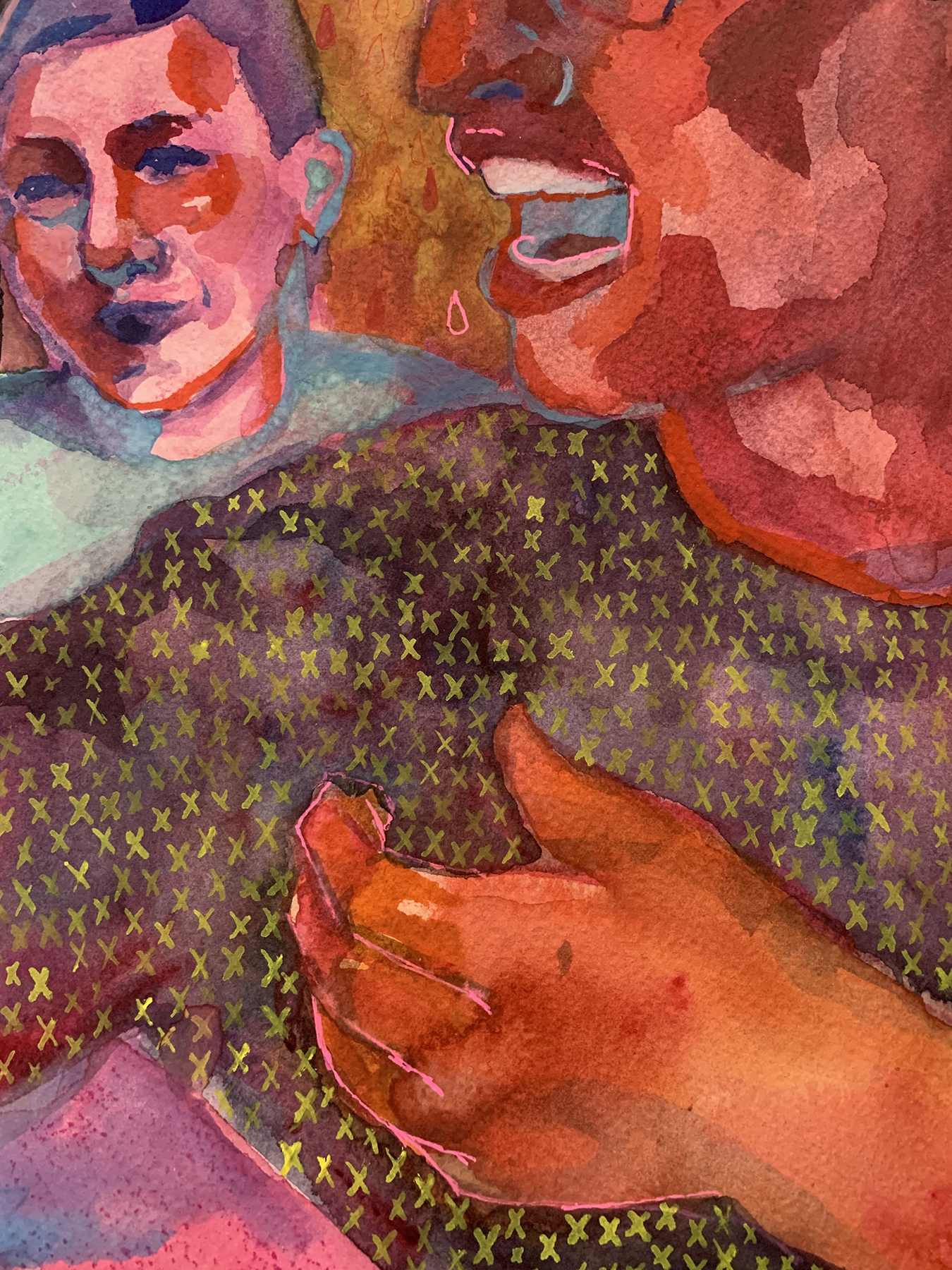 """Equally Matched (detail) - Kate Wilhite, watercolor on paper, 22 x 30"""""""