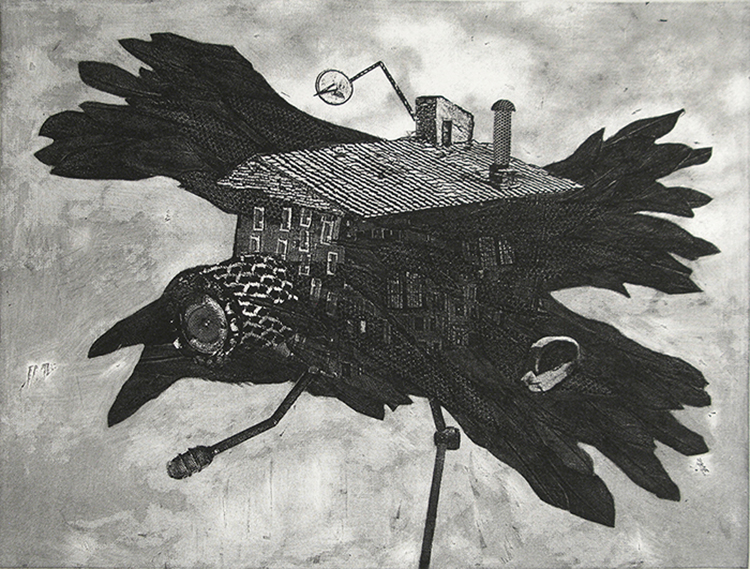 Mobile Inverse Surveillance House System I. Etching & Photo Etching. 2012.