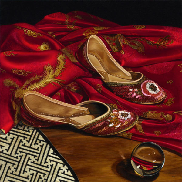 Glass, Slippers, oil on canvas