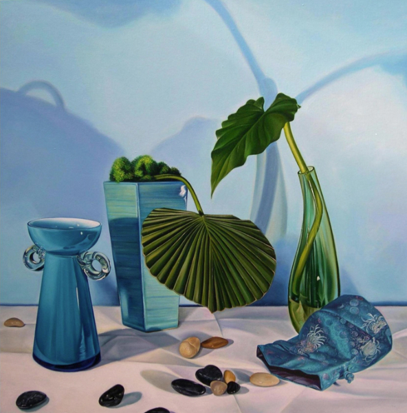Still Life in Blue and Green, oil on canvas