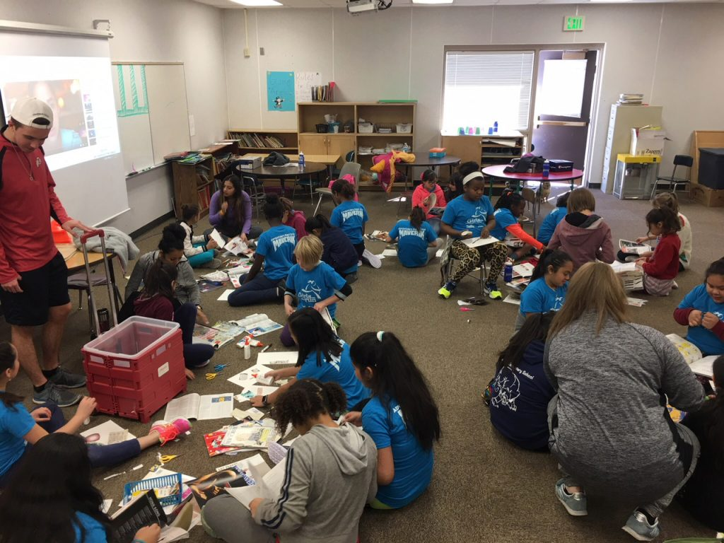 Art in the Community class with Girls on the Run at Mary W. Jackson Elementary School