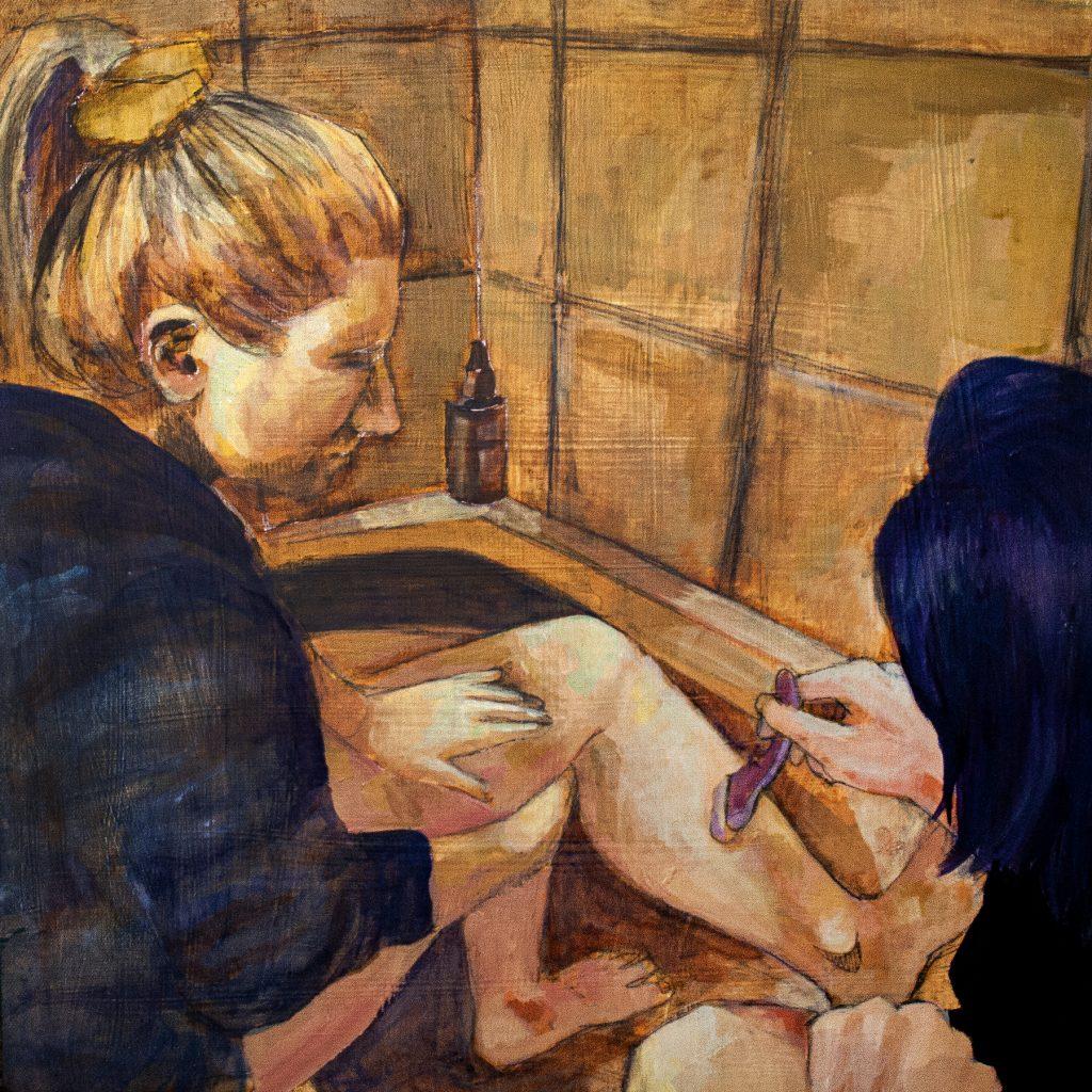 """Grooming Ritual, Jeni Jolley, Acrylic on Canvas, 15x15"""""""