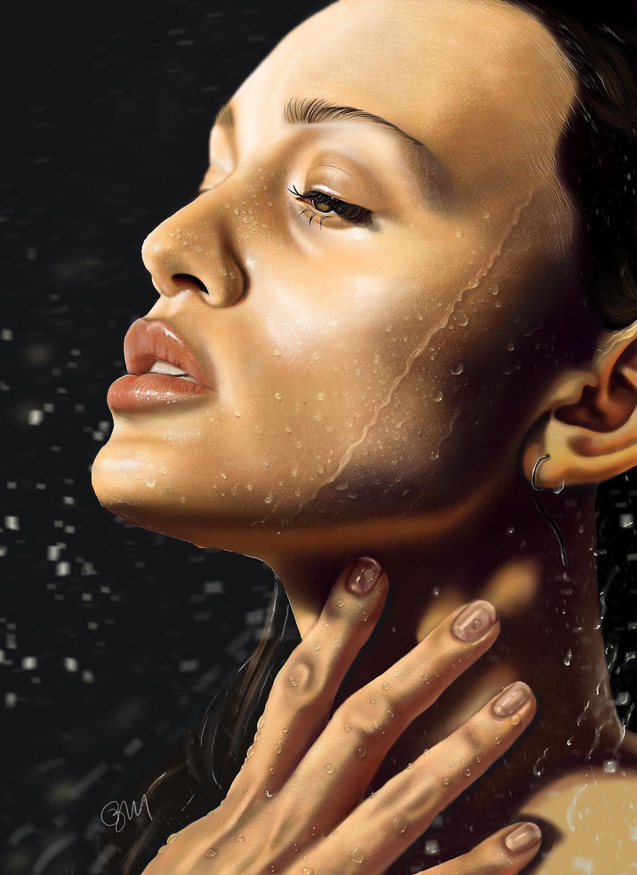 """Jordyn in Water - Brooke Martin, 2020, procreate (digital print), 18 x 24"""""""
