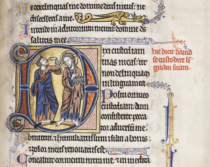 Lewis Psalter: Initial D, Psalm 38. 1225-1240 CE, illuminated manuscript, 230 mm x 165 mm; Free Library of Philadelphia, mca1850661, f. 66r, Philadelphia, PA.