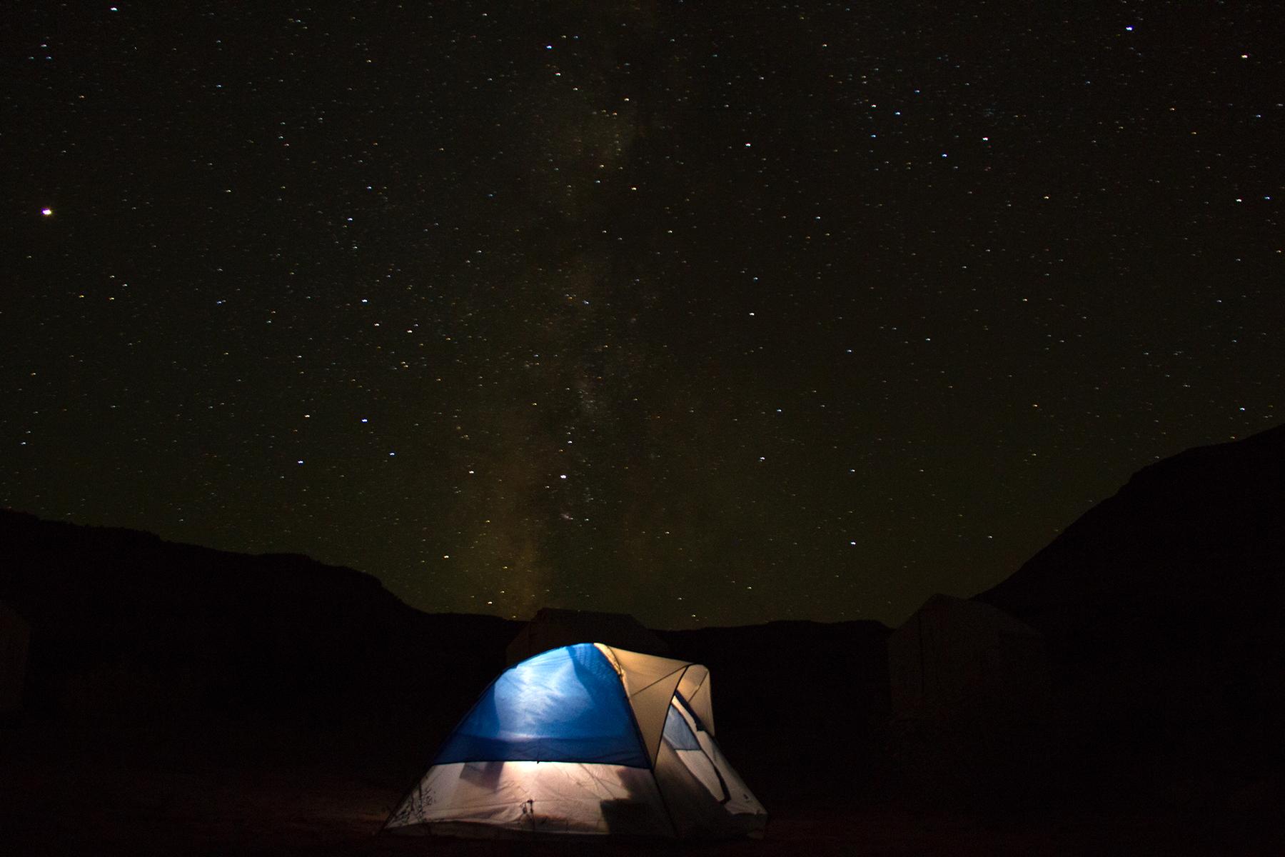 Stars and tents at Rio Mesa